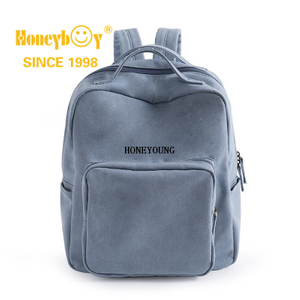 Wholesale Light Blue Hand Washable School Bag with Bottle Holder