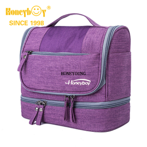 Extra Large Purple Multi Compartment Hanging Cosmetic Bag