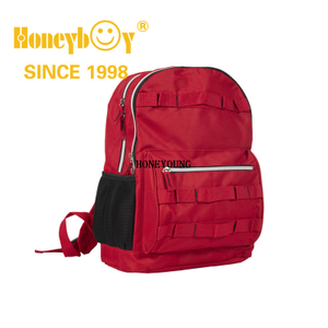 Custom Durable Red Color Student School Bag with Mesh Pockets