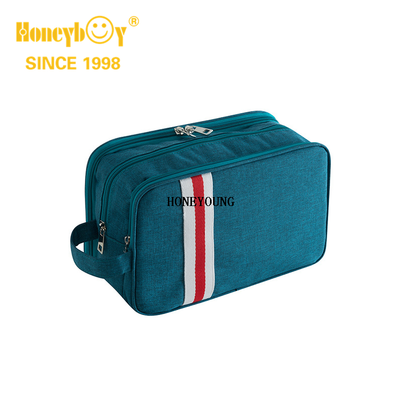 Large Two Tone 3 Layer Cosmetic Bag with inside Pocket