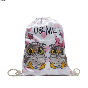 Silk Fabric Drawstring Backpack Girls Backpack with Printing
