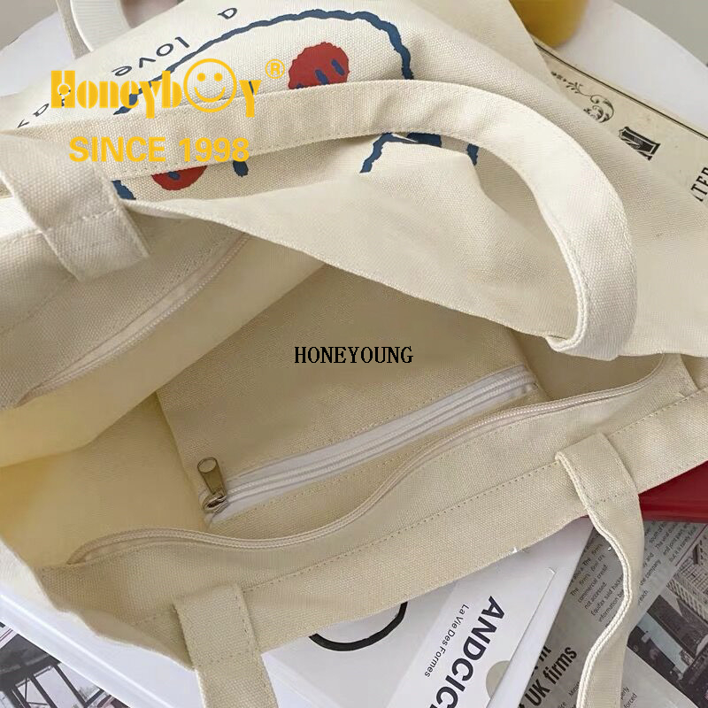 Washable Drawing Canvas Shopping Bag with Zipper HY-HS003