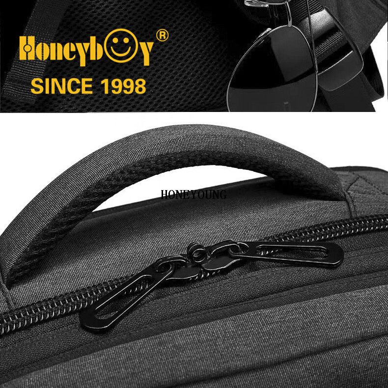 Expandable Waterproof Multilevel Black Farbic Computer Backpack
