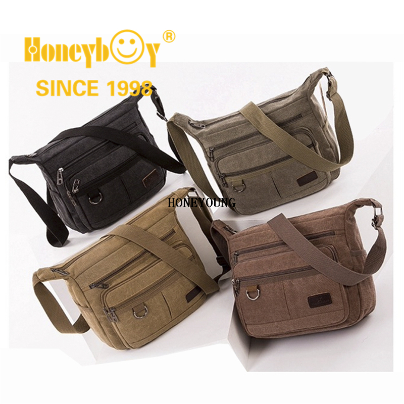 Outdoor Travel Mens Canvas Shoulder Bag with outside Pockets