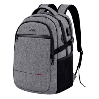 Customized Gray Laptop Backpack Large Capacity with Sturdy Handle
