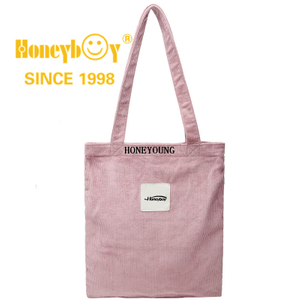 Lightweight Medium Pink Corduroy Shopping Bag for Women