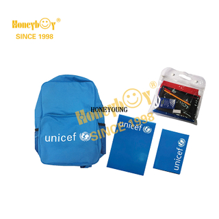 Hot Sale Unicef Stationery School Backpack Set HY-G012
