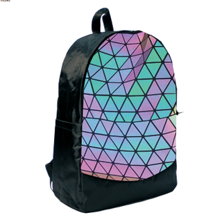 Fashionable Reflective Grid Leather Teenagers Outdoor Backpack HY-A125