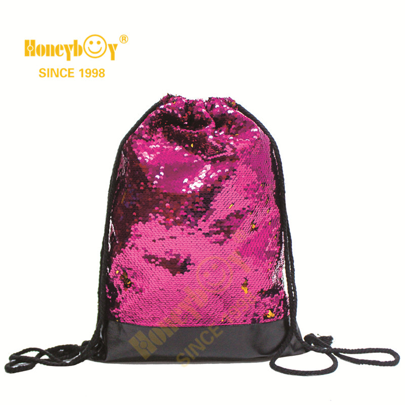 Creative Gym Sequin Glitter Paillette Drawstring Backpack