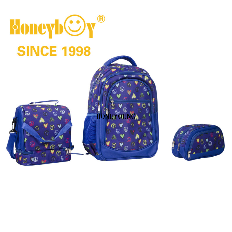 Fashion Design All over Printing Teenagers Back To School Bag Set